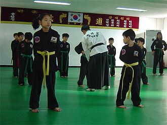 Dojang - South Korean children train in a dojang