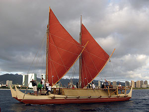 Polynesian navigation - Hokule'a, Hawaiian double-hulled canoe sailing off Honolulu, 2009.