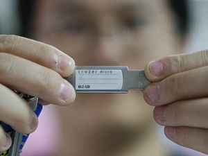 Sneakernet - A USB flash drive allows the transfer of data between individuals without use of the Internet.