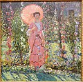 Hollyhocks by Frederick Carl Frieseke, c. 1912-1913 AD, oil on canvas - Museo Nacional Centro de Arte Reina Sofía - DSC08749.JPG