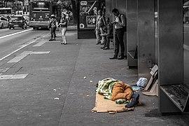 Homeless sleeping on Paulista Avenue, São Paulo city, Brazil.jpg