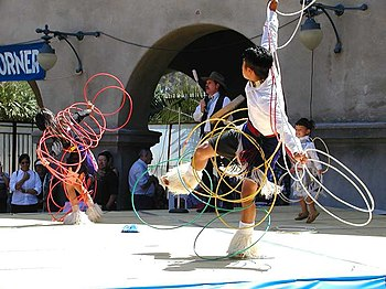 Native American Indians performing a Hoop Danc...