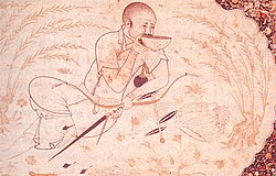 Stylized line drawing of Hulagu, seated and drinking from a bowl