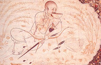 Mongol bow - Hulagu Khan with the older composite bow used during the time of the Mongol conquest. It is smaller in size and has no string bridges