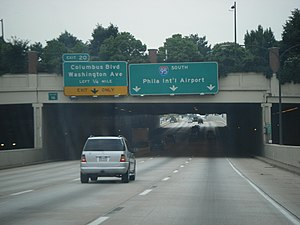 Interstate 95 in Pennsylvania - I-95 southbound through Center City Philadelphia