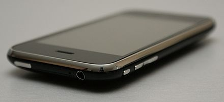The top and side of an iPhone 3GS, externally identical to the iPhone 3G. From left to right, sides: wake/sleep button, SIM card slot, headphone jack, silence switch, volume controls. The switches were black plastic on the first generation iPhone. Top: earpiece, screen. - iPhone