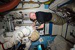 ISS-46 Scott Kelly relocates spacewalk hardware and suits inside the Quest airlock.jpg