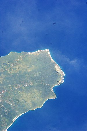 Falealupo - Satellite image of Falealupo at the west end of Savai'i island. (NASA photo 2009).