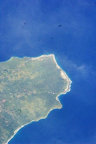 Falealupo - Satellite image of Falealupo at the west end of Savai'i island. (NASA photo 2009).