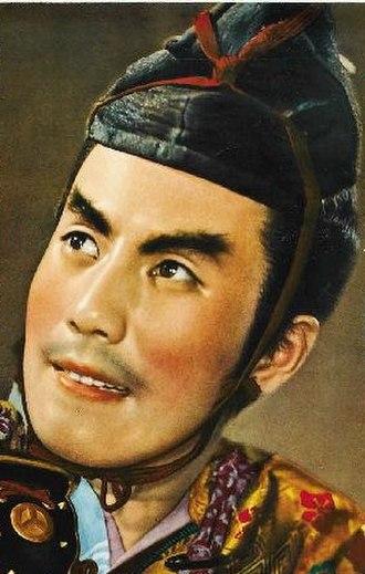 Ichikawa Raizō VIII - Ichikawa Raizō VIII, detail from movie poster for Shin Heike Monogatari (1955)