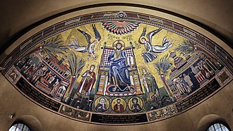 Basilica of Sant'Ambrogio - Mosaic of Christ Pantokrator from the 4th to 8th century (with later restoration).