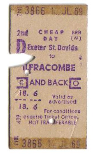 Ilfracombe branch line - A return ticket for travel from Exeter St.David's to Ilfracombe, dated 14 July 1969