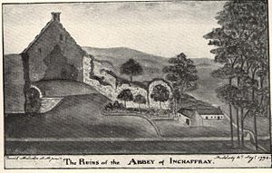 Inchaffray Abbey - Ruins of the abbey as depicted in 1794