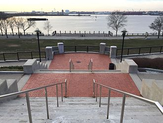India Point Park - View of the park and bay from the steps coming from the I-195 pedestrian bridge.
