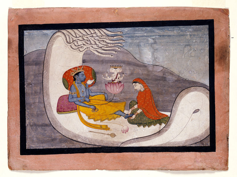 File:Indian - The Recumbent Vishnu and the Creation of Brahma - Walters W906.jpg