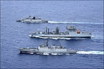Indian Naval Ships Sahyadri, Shakti and Kamorta of the Eastern Fleet underway to Guam to participate in Malabar 2018.jpg