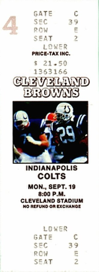 1988 Indianapolis Colts season - A ticket for a September 1988 game between the Colts and the Cleveland Browns.