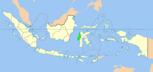 Map showing West Sulawesi province within Indonesia