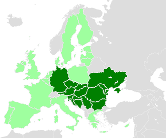 International Commission for the Protection of the Danube River - Contracting parties of the ICPDR, with the European Union shaded in light green; excludes Montenegro.