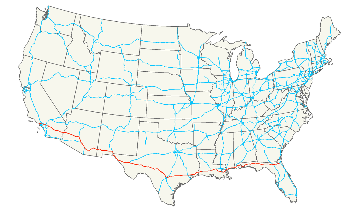 Interstate Wikipedia - Us driving map