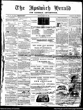The Queensland Times - Front page of The Ipswich Herald and General Advertiser, Friday 29 March 1861