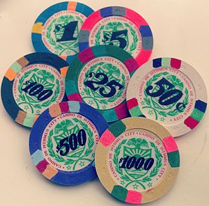 "Casino token - Chips from the fictional ""Casino de Isthmus City""."