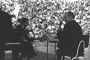 Piano trio - Istomin-Stern-Rose Trio playing at Caesarea theatre, 1961
