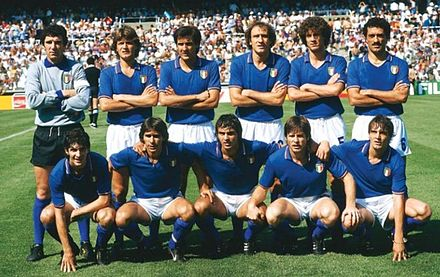 Italy's starting line-up, before the match against Argentina in a group stage game at the 1982 FIFA World Cup. Italia82.JPG