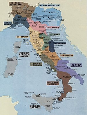 Sicilia (Roman province) - The regiones of Augustan Italy (around AD 7)
