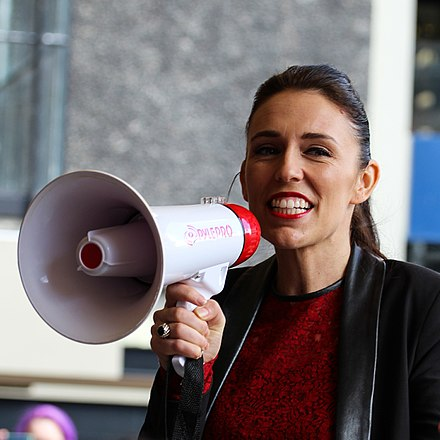 Ardern campaigning at the University of Auckland in September 2017 Jacinda Ardern at the University of Auckland (cropped).jpg