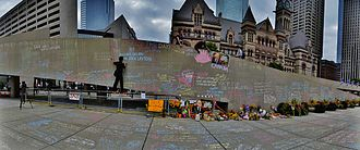 Death and state funeral of Jack Layton - The impromptu memorial set up at Toronto City Hall for Jack Layton