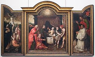 De kruisiging (links), De voorspelling van Hizkia's genezing (midden), Abt Jacobus Delrio met beschermheilige (rechts), De opwekking van Lazarus (gesloten buitenluiken, grisaille)