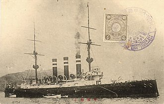 Izumo-class cruiser - A postcard of Iwate at anchor, before 1905