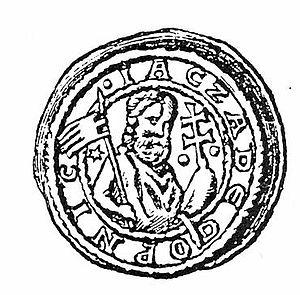 Jaxa of Köpenick - A bracteate of Jacza de Copnic. The cross held by the figure suggests a Christian ruler.