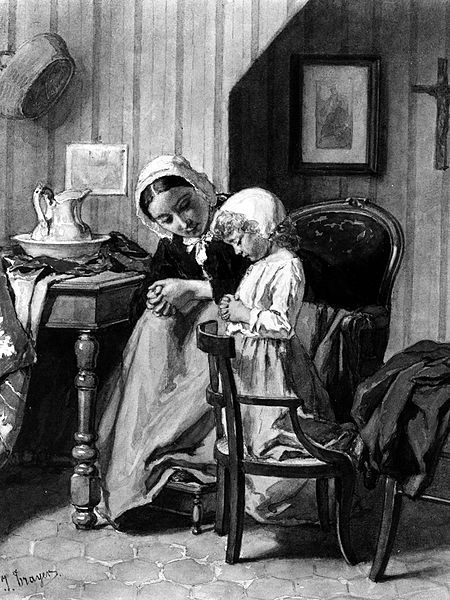 File:Jean-Baptiste Jules Trayer - Mother Teaching Daughter Prayers - Walters 371297.jpg