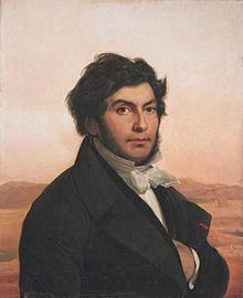 Painting of a young man with dark hair and a beard, on a desert background