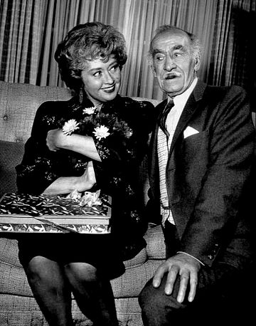 Clyde as George MacMichael, charmed by Joan Blondell as the McCoys' Aunt Win Joan Blondell Andy Clyde Real McCoys 1963.JPG