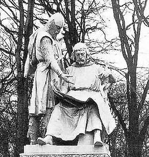 John I, Margrave of Brandenburg - Monument to John I (sitting) and his brother Otto III in the Siegesallee in Berlin,  by Max Baumbach.