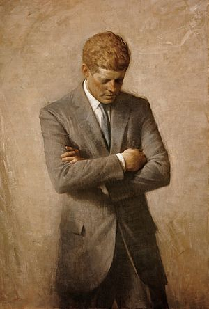 Posthumous official presidential portrait of U.S. President John F. Kennedy, painted by Aaron Shikler