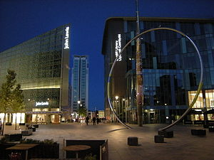 The Hayes - The southern end of The Hayes, showing part of St David's, a Radisson Blu hotel, Alliance and the new Central Library