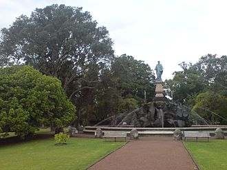 John Logan Campbell (politician) - Statue of Sir John Logan Campbell at 308-312 Manukau Road, Epsom, placed at the twin formal entrances to his gift, Cornwall Park, Auckland