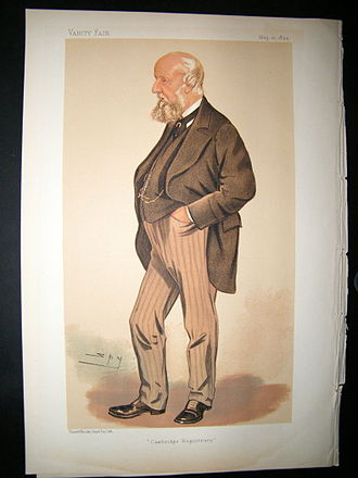 """John Willis Clark - """"Cambridge Registrary"""". Caricature by Spy published in Vanity Fair in 1894."""