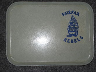 Fairfax High School (Fairfax, Virginia) - Johnny Reb lunch tray used at Fairfax High School during the 1970s