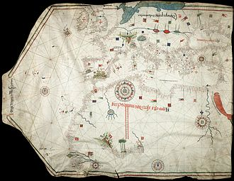 Portolan chart - Portolan chart by Jorge de Aguiar (1492), the oldest known signed and dated chart of Portuguese origin (Beinecke Rare Book and Manuscript Library, Yale University, New Haven, USA)