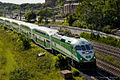 June 2012 double decker GO Train heading into Toronto around the Humber Bay (7426950086).jpg