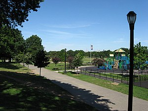 Juniper Valley Park - The playground (at right) in eastern Juniper Valley Park was renovated in 2006.