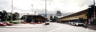 Taxicabs of Hong Kong - Red taxis at the Kai Tak Airport forecourt in 1998.