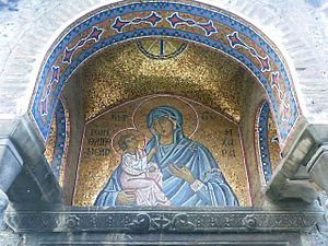 Church of Panagia Kapnikarea - Mosaic of the Madonna and child at the south portico