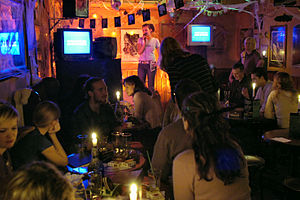 """English: Karaoke in the Irish Pub """"The Ol..."""