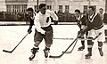 Karel Hartmann in a Sparta jersey on the right shoots the puck in a game against Wiener Eislaufverein, Vienna 1924.jpg